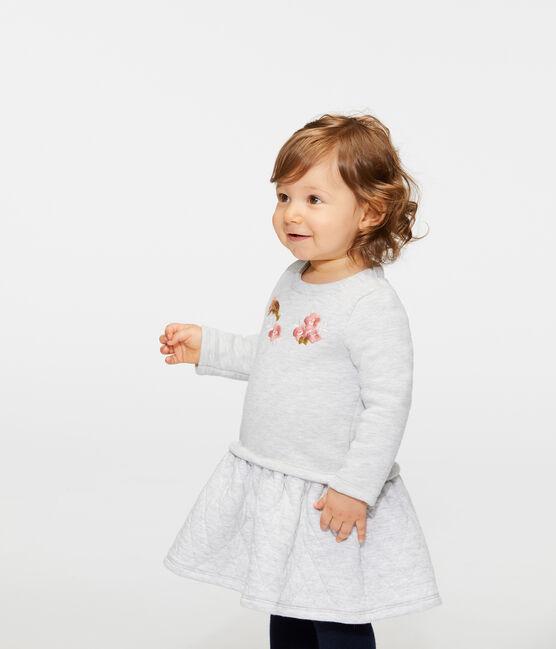 Langärmeliges Babykleid aus Materialmix für Mädchen grau Beluga
