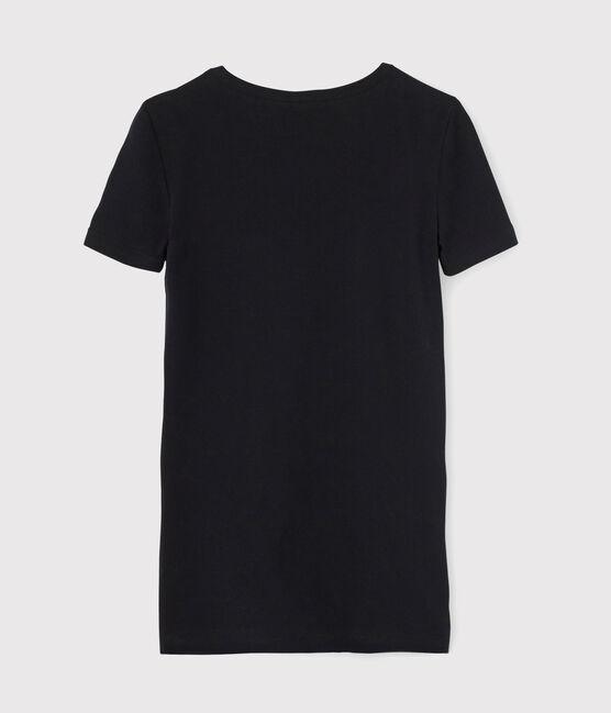 Damen-T-Shirt mit V-Ausschnitt schwarz Noir