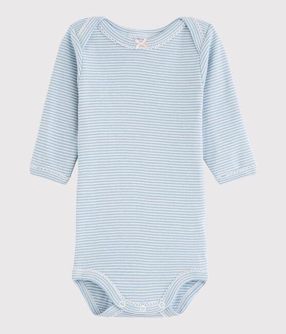 Langärmeliger Baby-Body Mädchen blau Acier / weiss Marshmallow