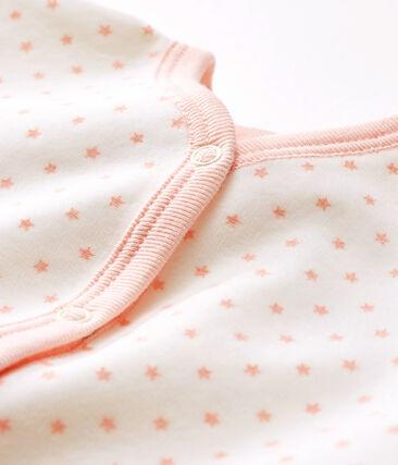 Baby-Strampler aus Nicki für Mädchen weiss Marshmallow / rosa Minois