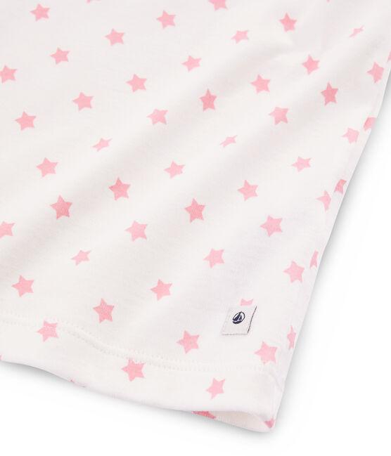 Kurzpyjama aus Rippstrick mit rosa Sternen für kleine Mädchen weiss Marshmallow / rosa Gretel