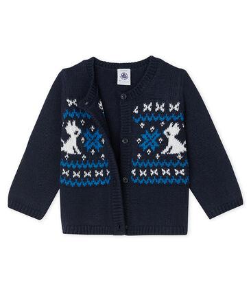 Cardigan für Baby Jungen aus Wolle und Baumwolle blau Smoking / weiss Multico
