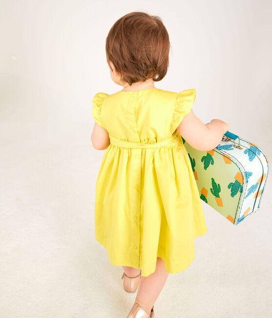 Kurzärmeliges Baby-Kleid aus Satin für Mädchen gelb Eblouis