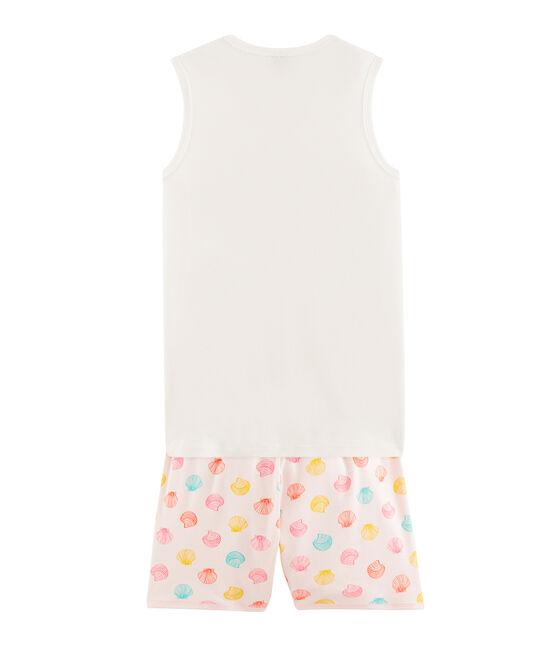 Rippstrick-Kurzpyjama für Mädchen rosa Fleur / weiss Multico
