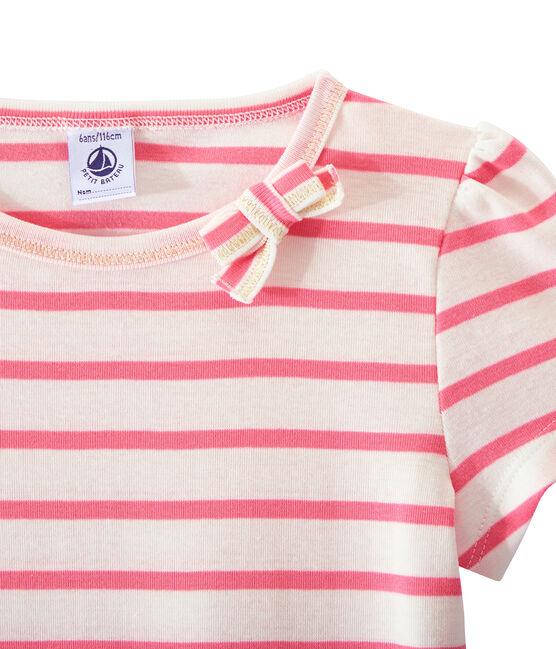Geringeltes Mädchen-T-Shirt weiss Marshmallow / rosa Petal