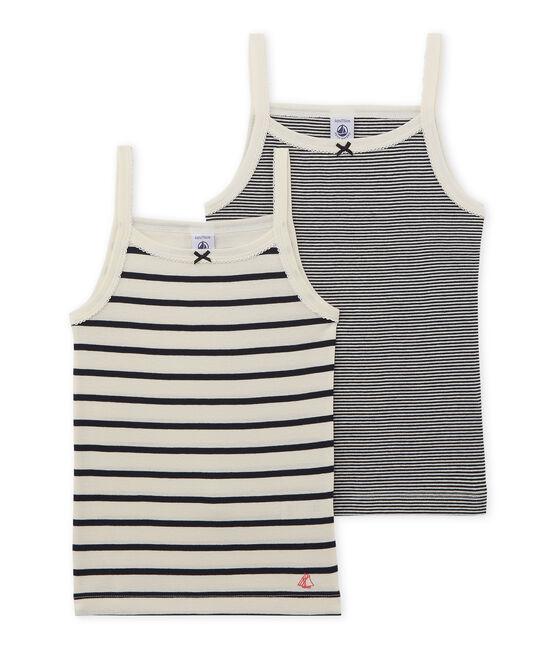 Set mit 2 gestreiften Trägerhemden für kleine Mädchen lot .