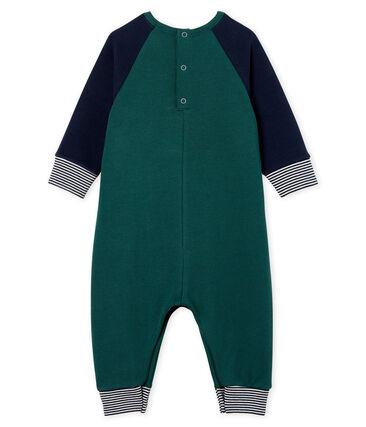 Baby-Langoverall aus Molton für Jungen grün Sousbois / blau Smoking