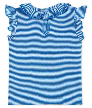 Kurzärmelige gestreifte baby-bluse mädchen blau Riyadh / weiss Marshmallow