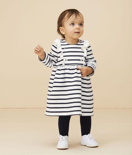Langärmeliges Baby-Kleid für Mädchen weiss Marshmallow / blau Smoking