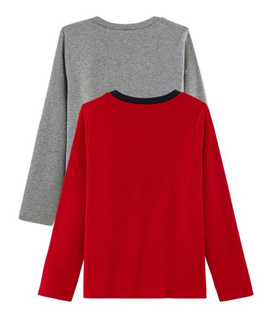 Set mit 2 T-Shirts für Jungen: mit Siebdruck + einfarbig lot .