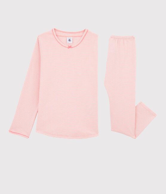 Pyjama aus Rippstrick mit Ringelmuster für kleine Mädchen. rosa Gretel / weiss Marshmallow
