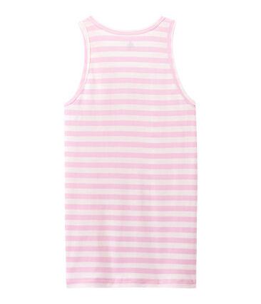Gestreiftes Damen-Top aus Original-Rippstrick rosa Babylone / weiss Marshmallow