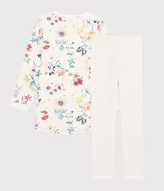 Nachthemd mit Blumenmuster aus Velours mit Leggings für Mädchen weiss Marshmallow / weiss Multico