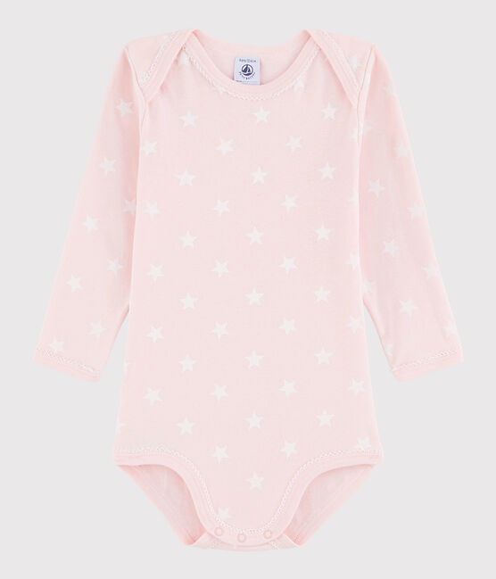 Langärmeliger Baby-Body Mädchen rosa Minois / weiss Marshmallow