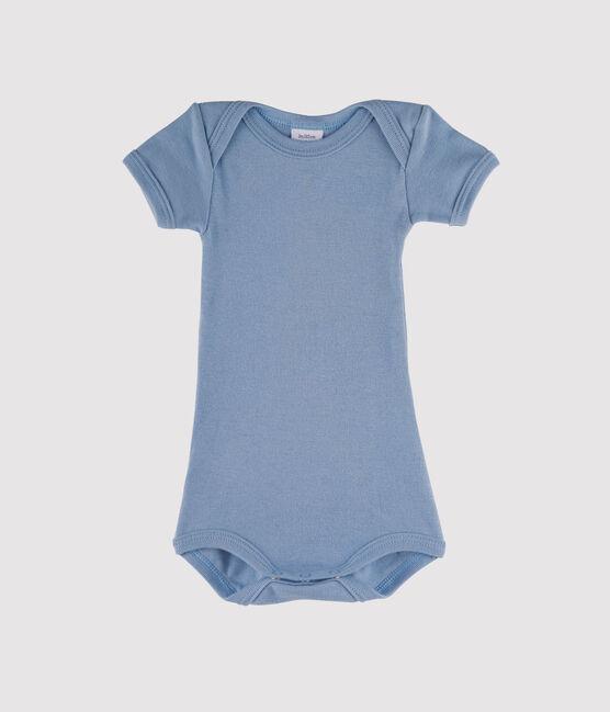 Kurzärmeliger Baby-Body für Jungen blau Acier