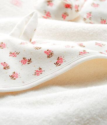 Set mit Badetuch und Babyschuhen aus Bouclé-Frottier und Rippstrick