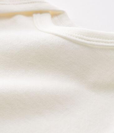 Langärmliger Baby-Body aus Wolle und Baumwolle weiss Marshmallow