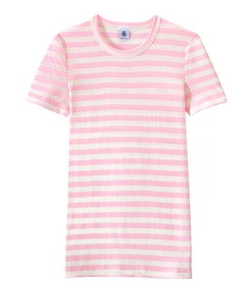 Gestreiftes Damen-T-Shirt aus Original-Rippstrick rosa Babylone / weiss Marshmallow