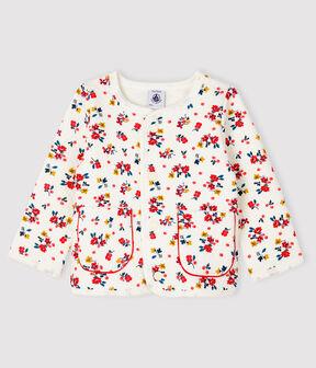 Baby-Cardigan aus Doppeljersey für Mädchen weiss Marshmallow / weiss Multico