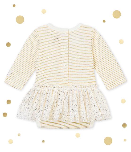 Baby MädchenBodykleid weiss Marshmallow / gelb Dore