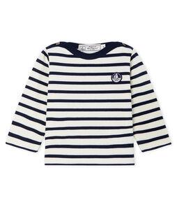 Ikonisches Baby-Streifenshirt unisex beige Coquille / blau Smoking