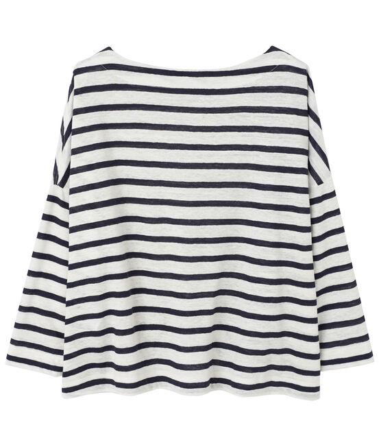 Damen-Streifenshirt aus Leinen weiss Lait / blau Smoking