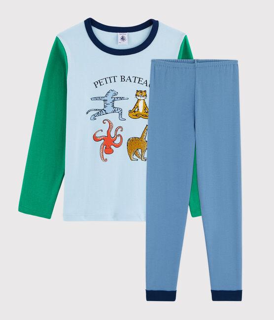 Yoga-Rippstrick-Pyjama mit Tieren für kleine Jungen blau Alaska / weiss Multico