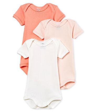 Trio kurzärmelige Baby-Bodys für Mädchen aus Baumwolle und Leinen lot .