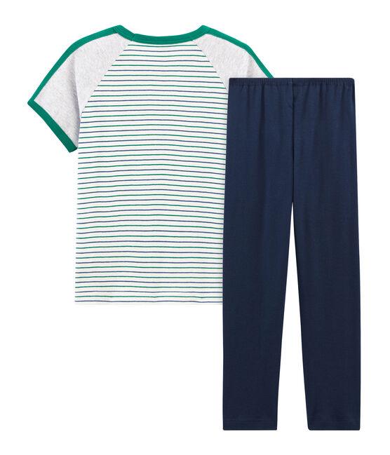 Kurzärmeliger Rippstrick-Pyjama für kleine Jungen weiss Marshmallow / weiss Multico
