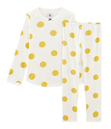 Rippstrick-Pyjama für Mädchen weiss Marshmallow / gelb Ble