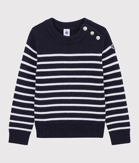 Kinder-Pullover aus Wolle und Baumwolle für Mädchen und Jungen blau Smoking / weiss Marshmallow