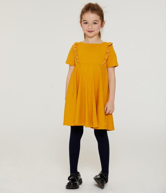 Kurzärmeliges Kinderkleid für Mädchen gelb Boudor