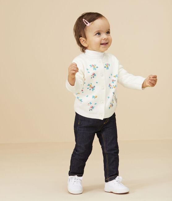Langärmeliger Baby-Cardigan für Mädchen weiss Marshmallow