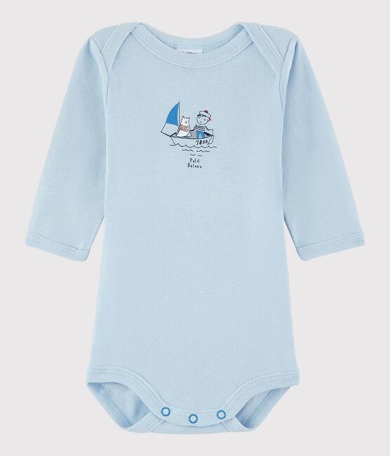 Langärmeliger Baby-Body Jungen blau Fraicheur