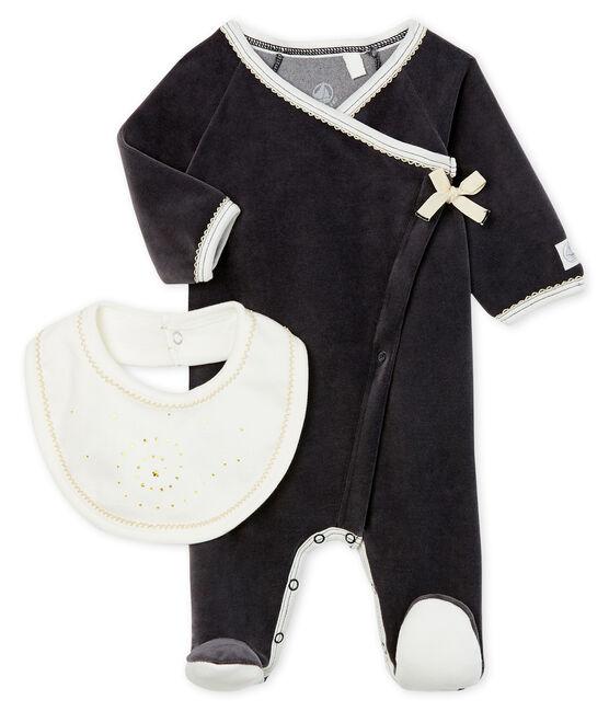 Set mit einem Strampler und einem Baby-Lätzchen aus Velours lot .