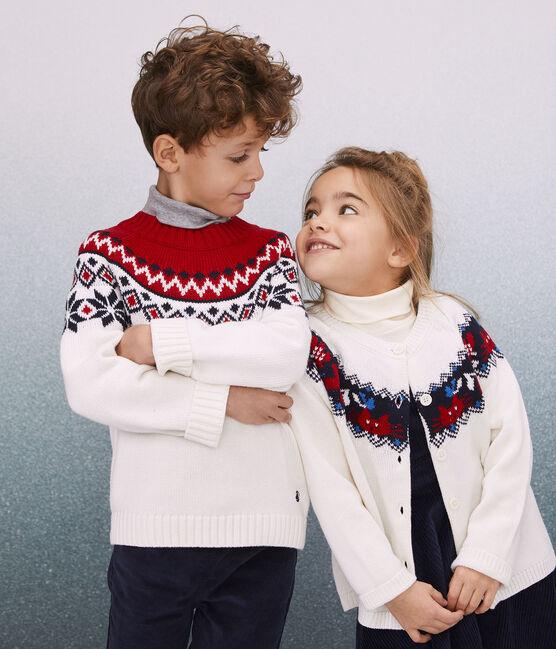 Kinderpullover aus Wolle und Baumwolle für Jungen weiss Marshmallow / weiss Multico