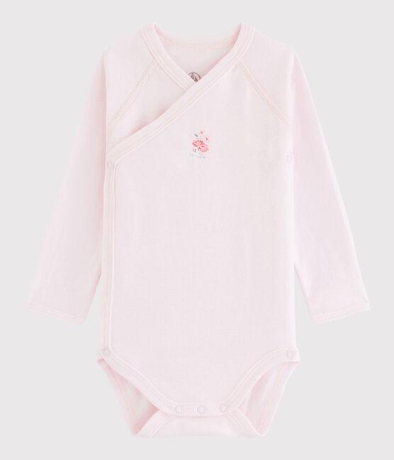 Langärmeliger Baby-Body in Wickelform Mädchen rosa Vienne