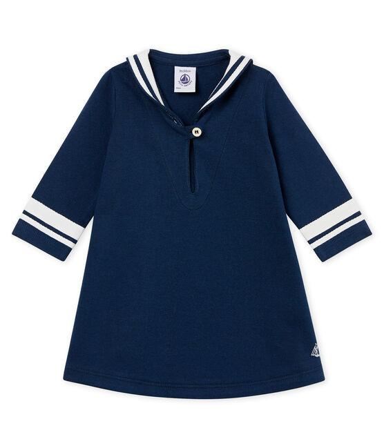 Langärmeliges baby-kleid mit matrosenkragen mädchen blau Haddock