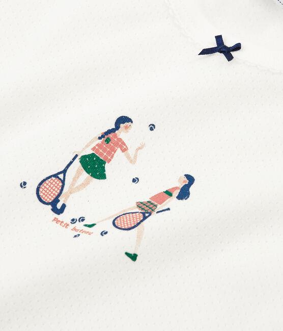 Kurzärmeliger Rippstrick-Pyjama für kleine Mädchen weiss Marshmallow / rosa Rosako