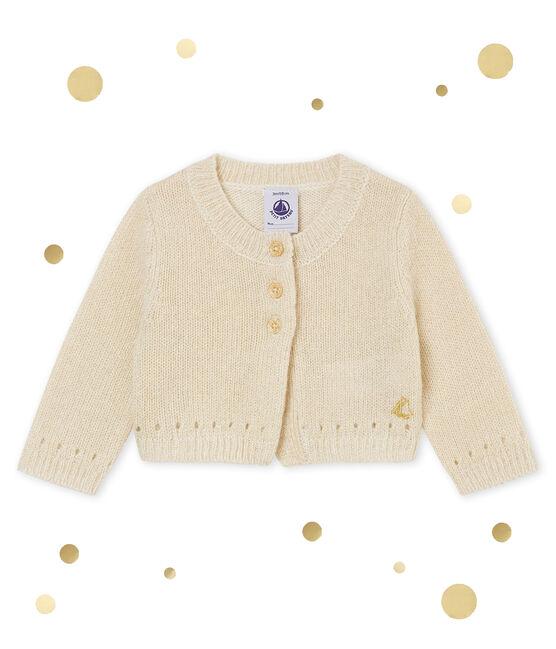 Glitzernder Baby MädchenBolero weiss Marshmallow / gelb Dore
