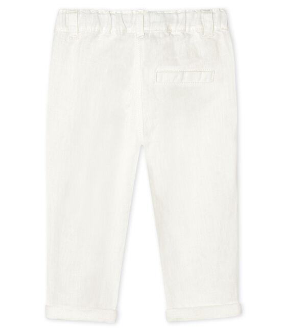Baby-Hose aus Leinen für Jungen weiss Marshmallow