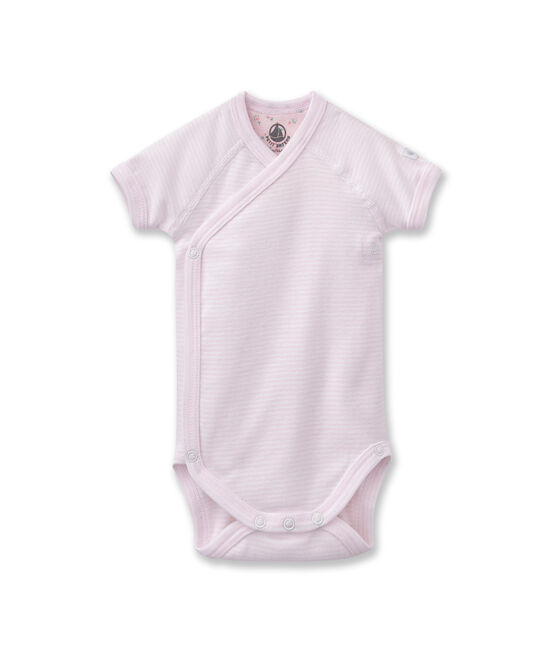 Baby-Wickelbody, Unisex, Ringelmuster rosa Vienne / weiss Ecume