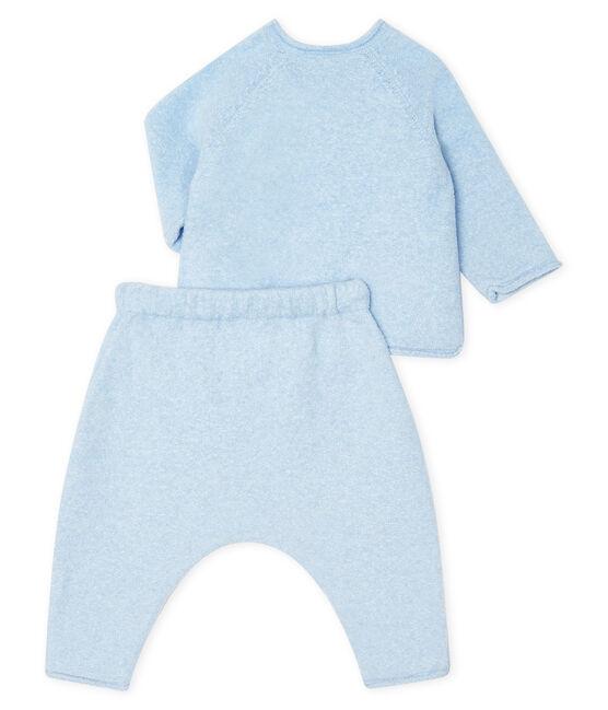 2-teiliges Baby-Set aus Baumwolle, Merinowolle und Polyester blau Toudou