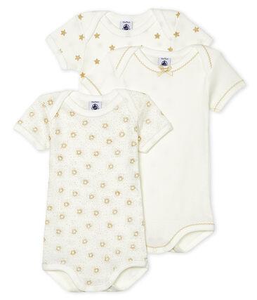 Trio kurzärmelige Baby-Bodys für Mädchen lot .