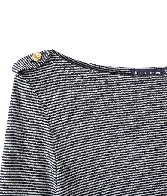 Gestreiftes Damen-Langarmshirt aus Leinen blau Smoking / weiss Lait