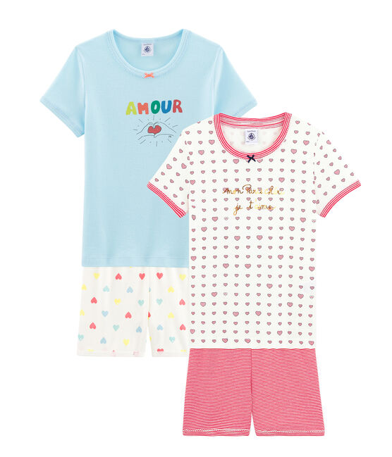 Duo von Kurz-Pyjamas aus Rippstrick für kleine Mädchen lot .