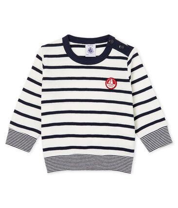 Langärmeliges Baby-T-Shirt mit Streifen für Jungen weiss Marshmallow / blau Smoking