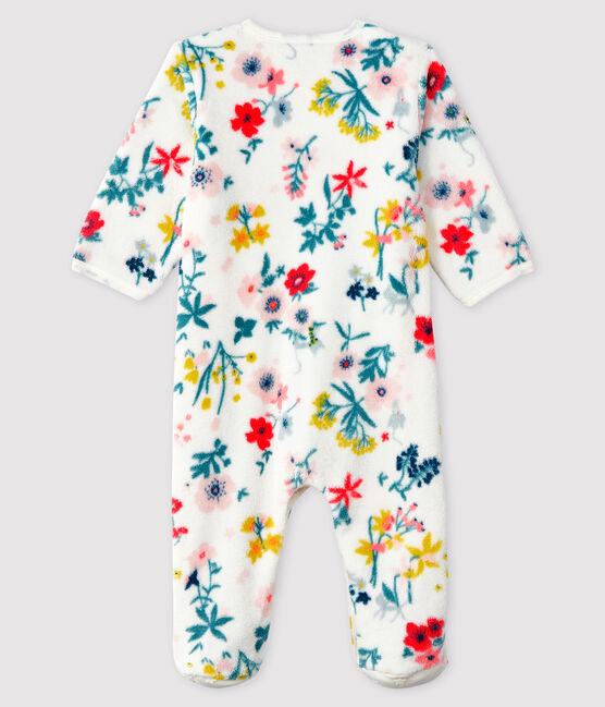 Baby-Pyjama zum Überziehen mit Blumen-Druck aus Fleece für Mädchen weiss Marshmallow / weiss Multico