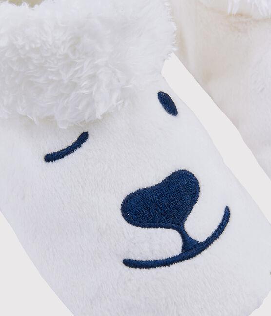 Eisbär-Kinderhausschuhe aus Fleece weiss Marshmallow