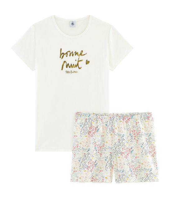 Rippstrick-Kurzpyjama für Mädchen weiss Marshmallow / weiss Multico
